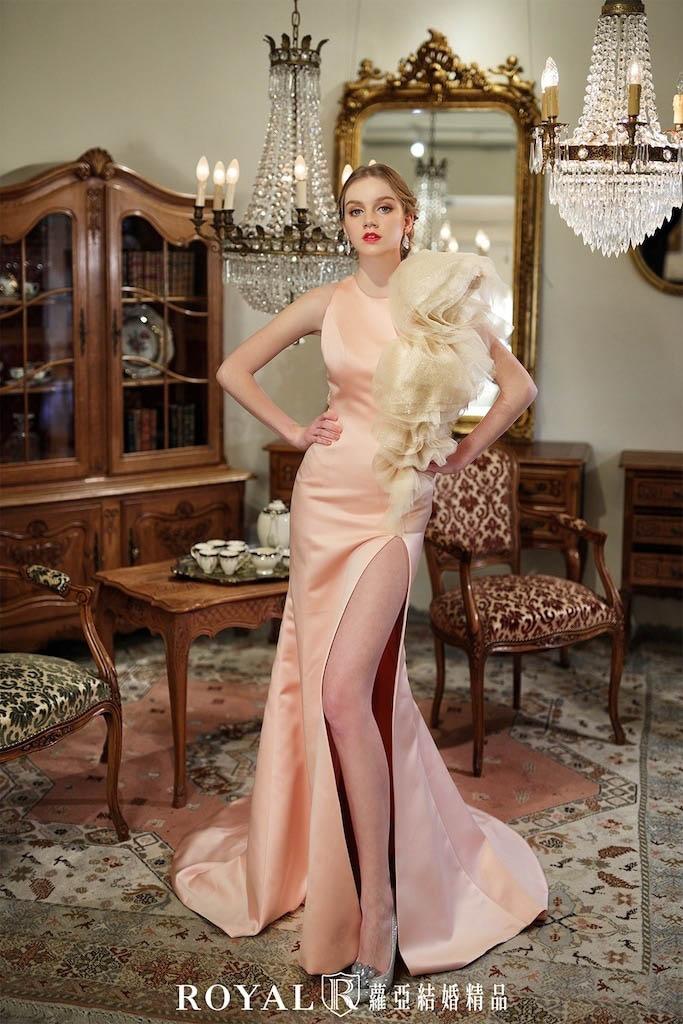 小隻女婚紗-新娘禮服-法式香檳金蔥魚尾禮服-婚紗禮服-蘿亞婚紗-台北婚紗