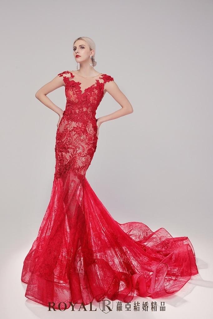 小隻女婚紗-新娘禮服-紅色法式蕾絲魚尾禮服-婚紗禮服-蘿亞婚紗-台北婚紗